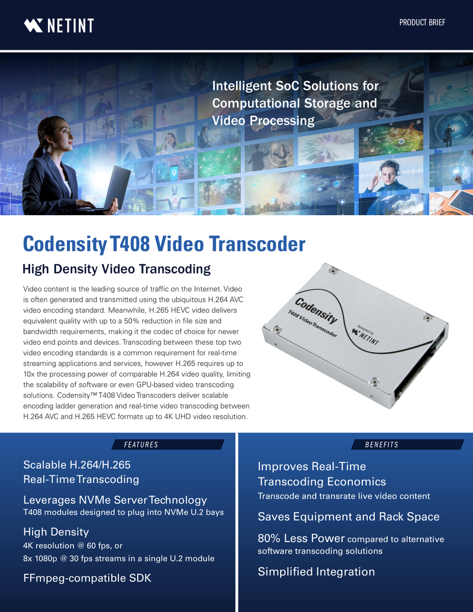 Product Brief: Codensity T408 Video Transcoder - NETINT